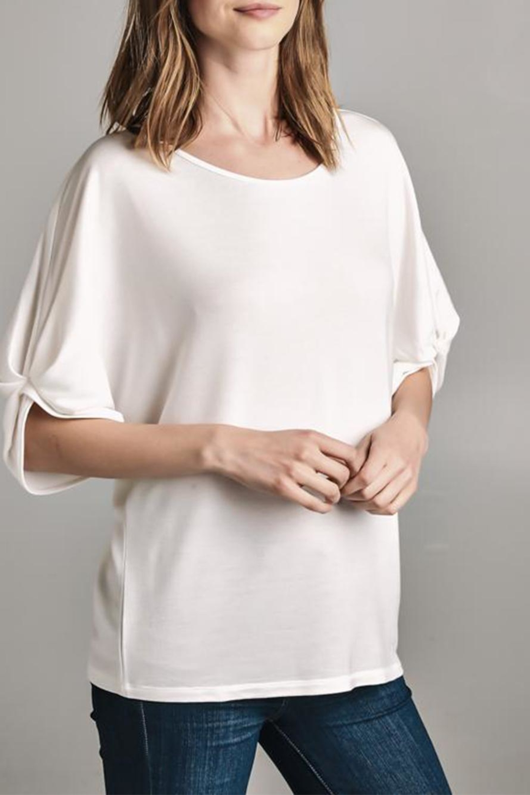 Color Thread Gathered Sleeve Top - Main Image