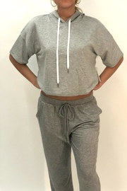 Color Thread Grey Crop Hoodie - Product Mini Image