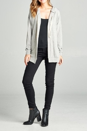 Color Thread Grey Hooded Cardigan - Product Mini Image