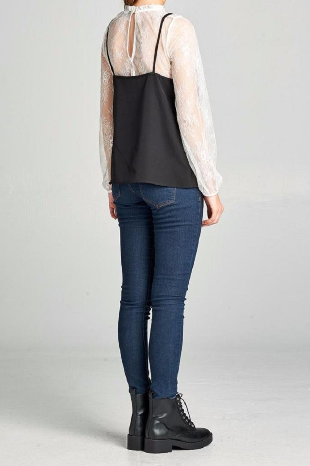 Color Thread Lace Layered Blouse - Back Cropped Image