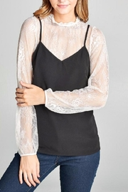 Color Thread Lace Layered Blouse - Other