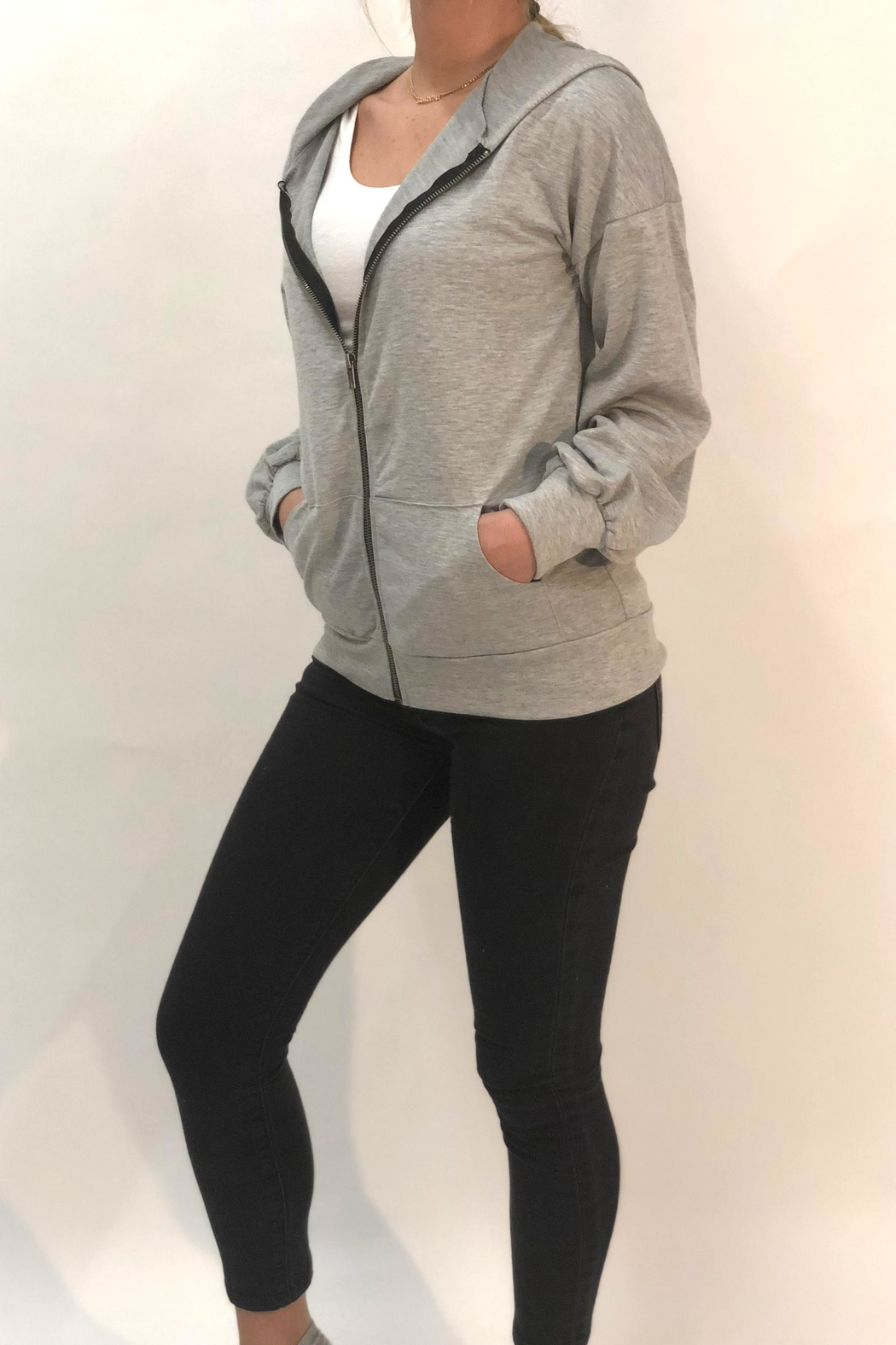Color Thread Tie Back Hoodie - Front Full Image