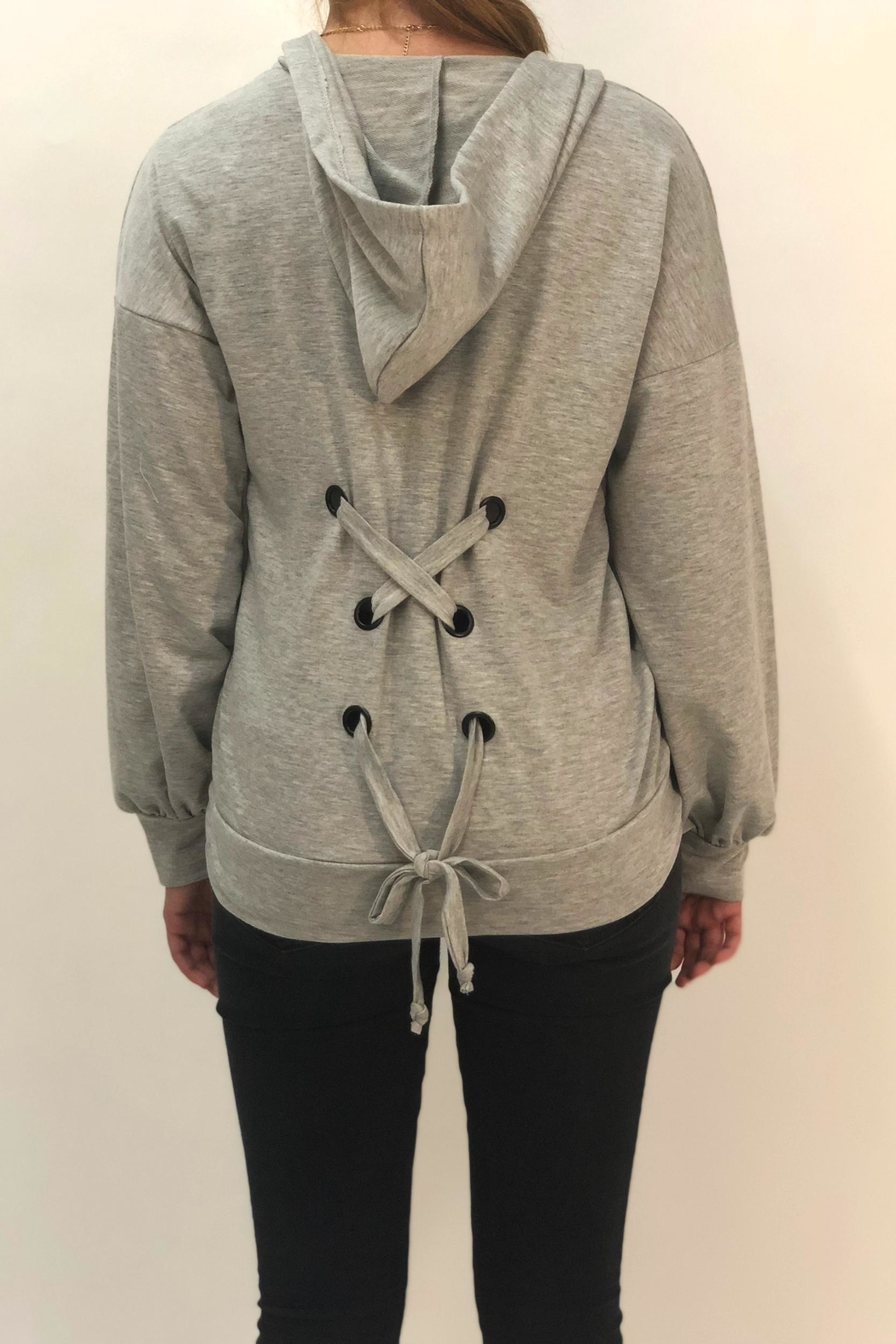 Color Thread Tie Back Hoodie - Side Cropped Image