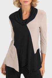 Joseph Ribkoff USA Inc. Colorblock Asymetric Cowl Neck Top - Front cropped