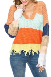 Gifted Colorblock Distressed Vneck - Product Mini Image