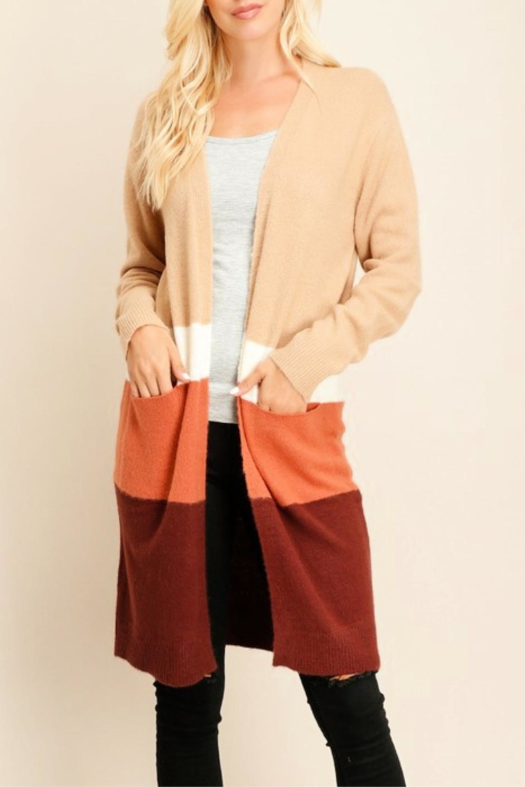 Miss Darlin Colorblock Duster Cardigan - Front Cropped Image