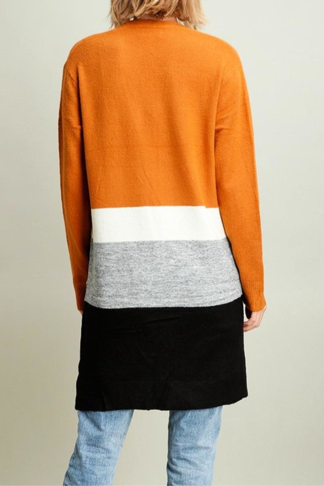 Miss Darlin Colorblock Duster Cardigan - Side Cropped Image
