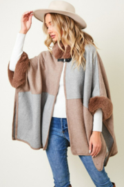 On Blue Colorblock Faux Fur Trimmed Hoodie Poncho - Product Mini Image