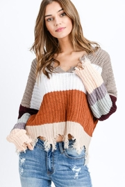 Polly & Esther Colorblock Frayed Sweater - Product Mini Image