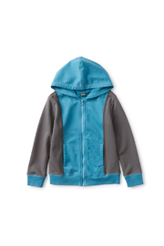 Tea Collection  Colorblock Hoodie - Nordic Blue - Front cropped