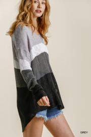 umgee  COLORBLOCK KNIT SWTR - Front full body