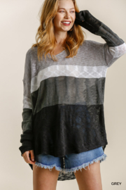 umgee  COLORBLOCK KNIT SWTR - Front cropped
