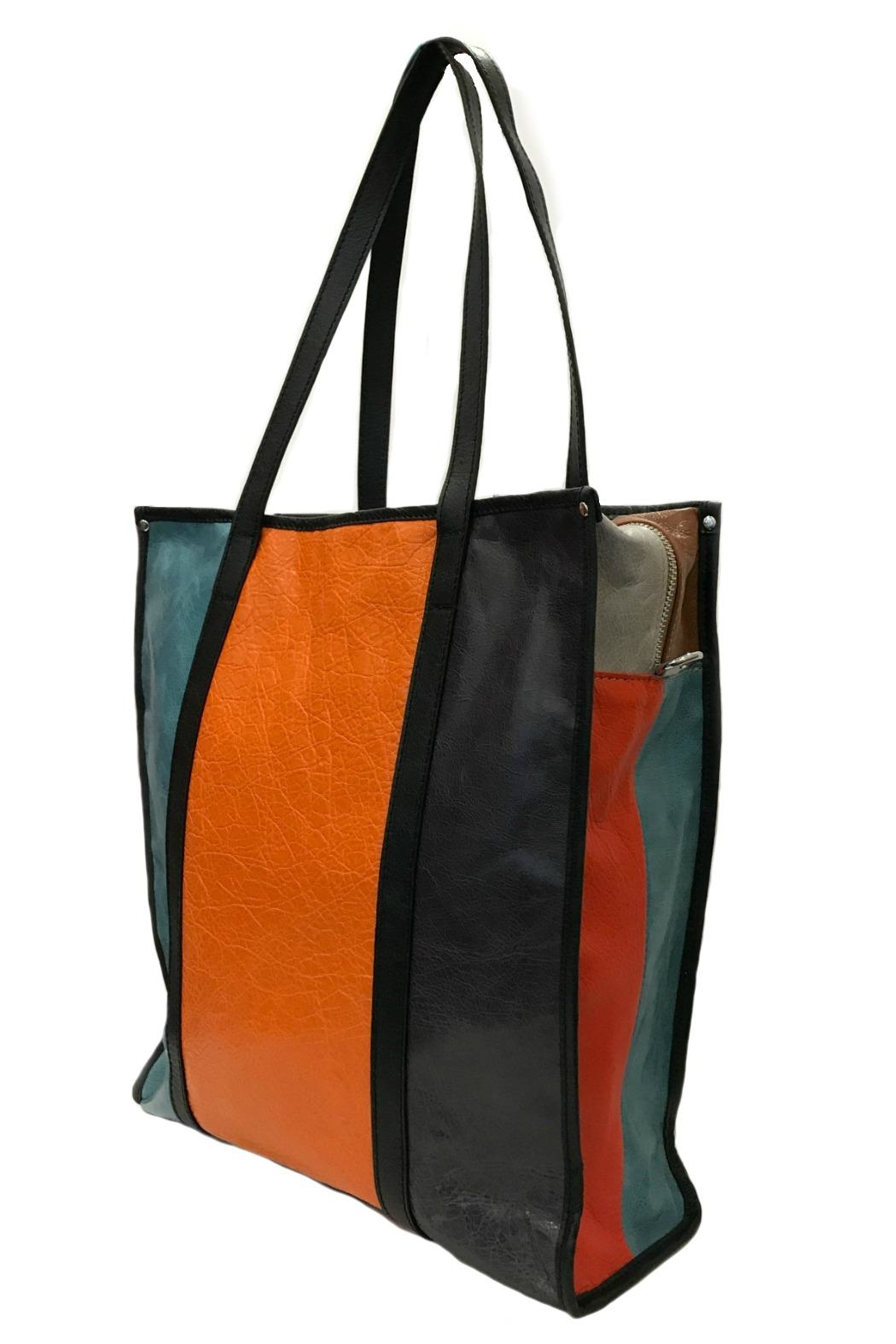 Leather Country Colorblock Leather Tote - Front Full Image
