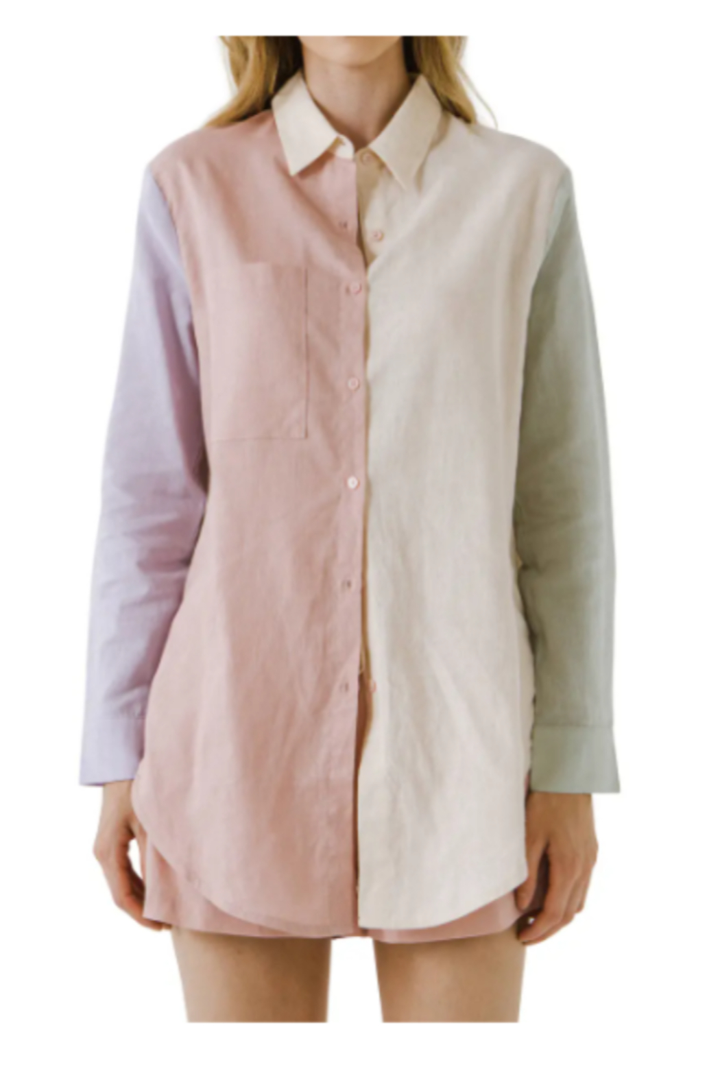 Grey Lab Colorblock Linen Shirt - Front Cropped Image