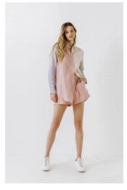 Grey Lab Colorblock Linen Shirt - Back cropped