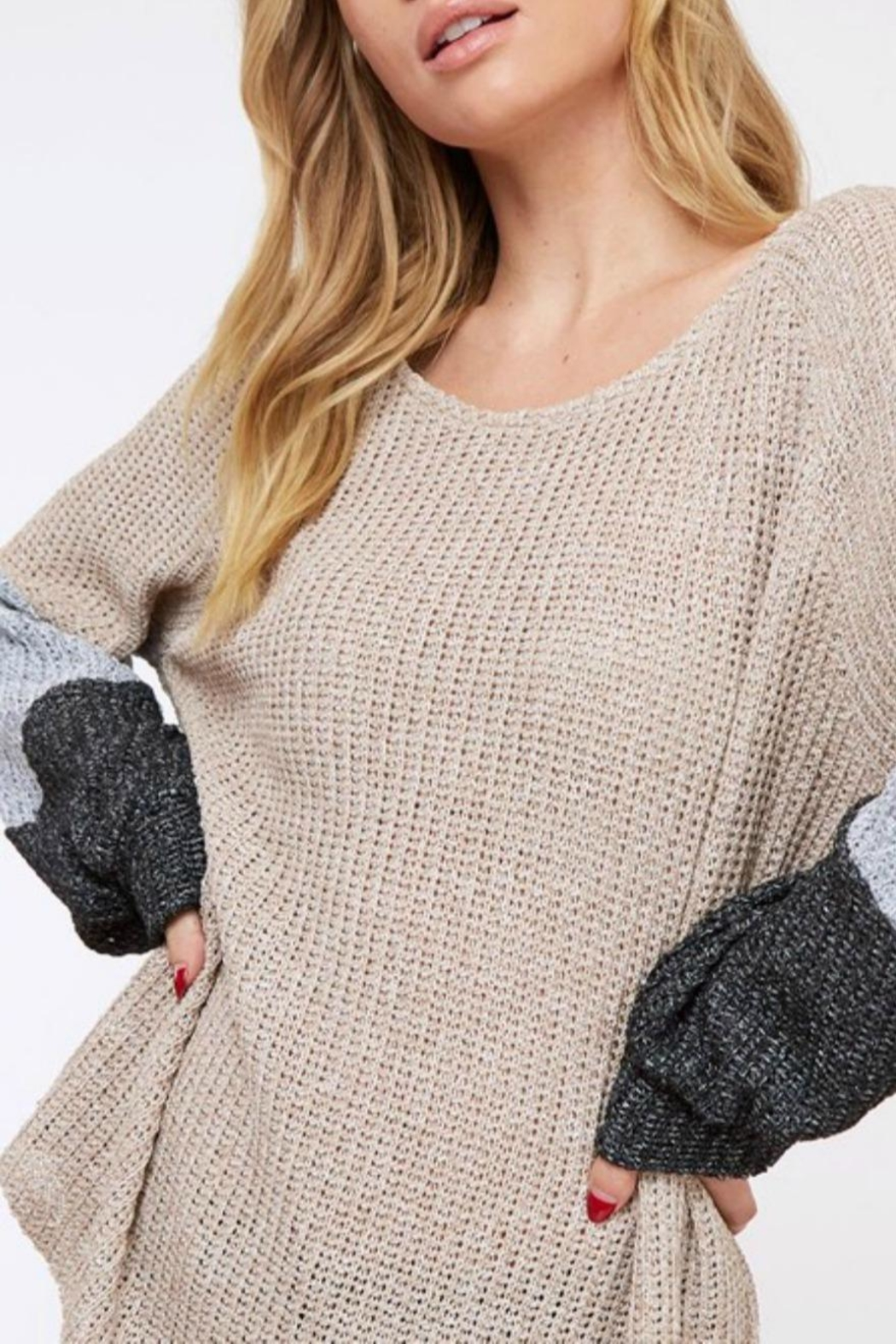 Fantastic Fawn Colorblock Loose-Fit Sweater - Front Full Image