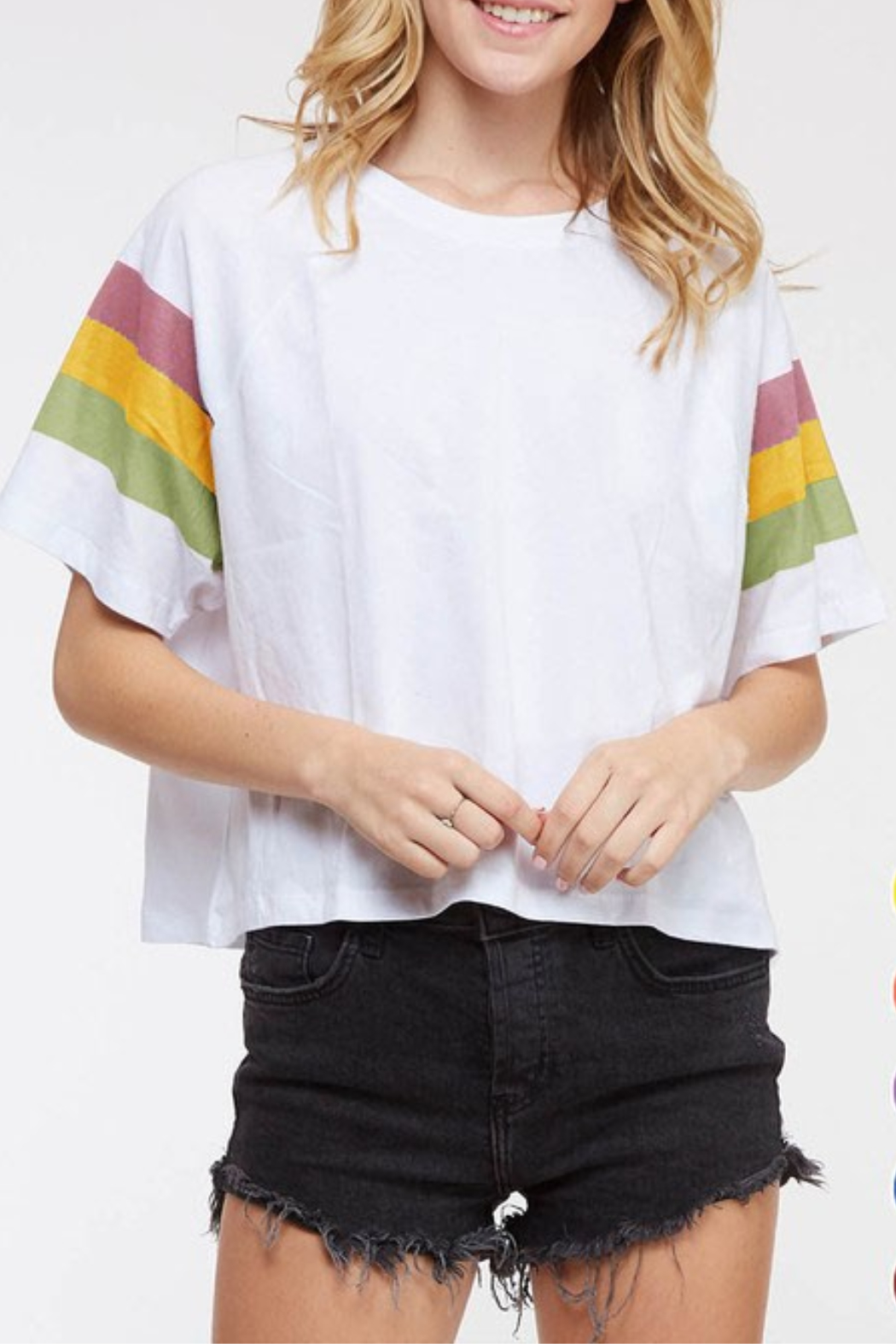 Fantastic Fawn Colorblock Mardi Gras Tee - Front Cropped Image