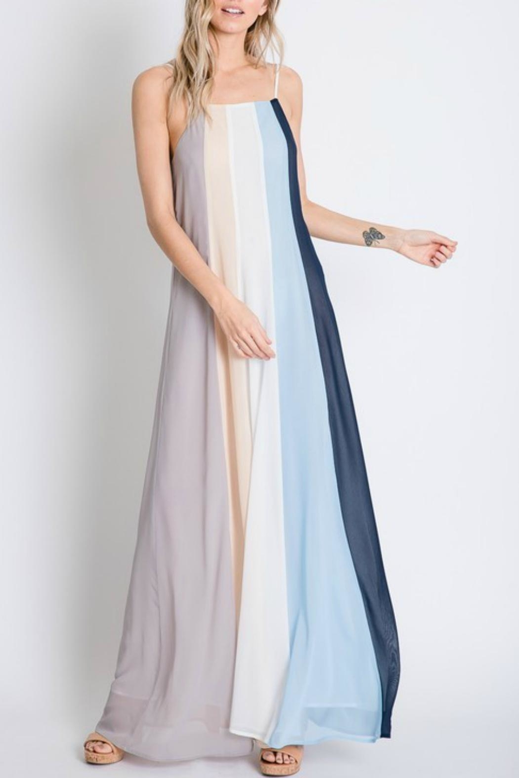 Pretty Little Things Colorblock Maxi Dress - Front Full Image