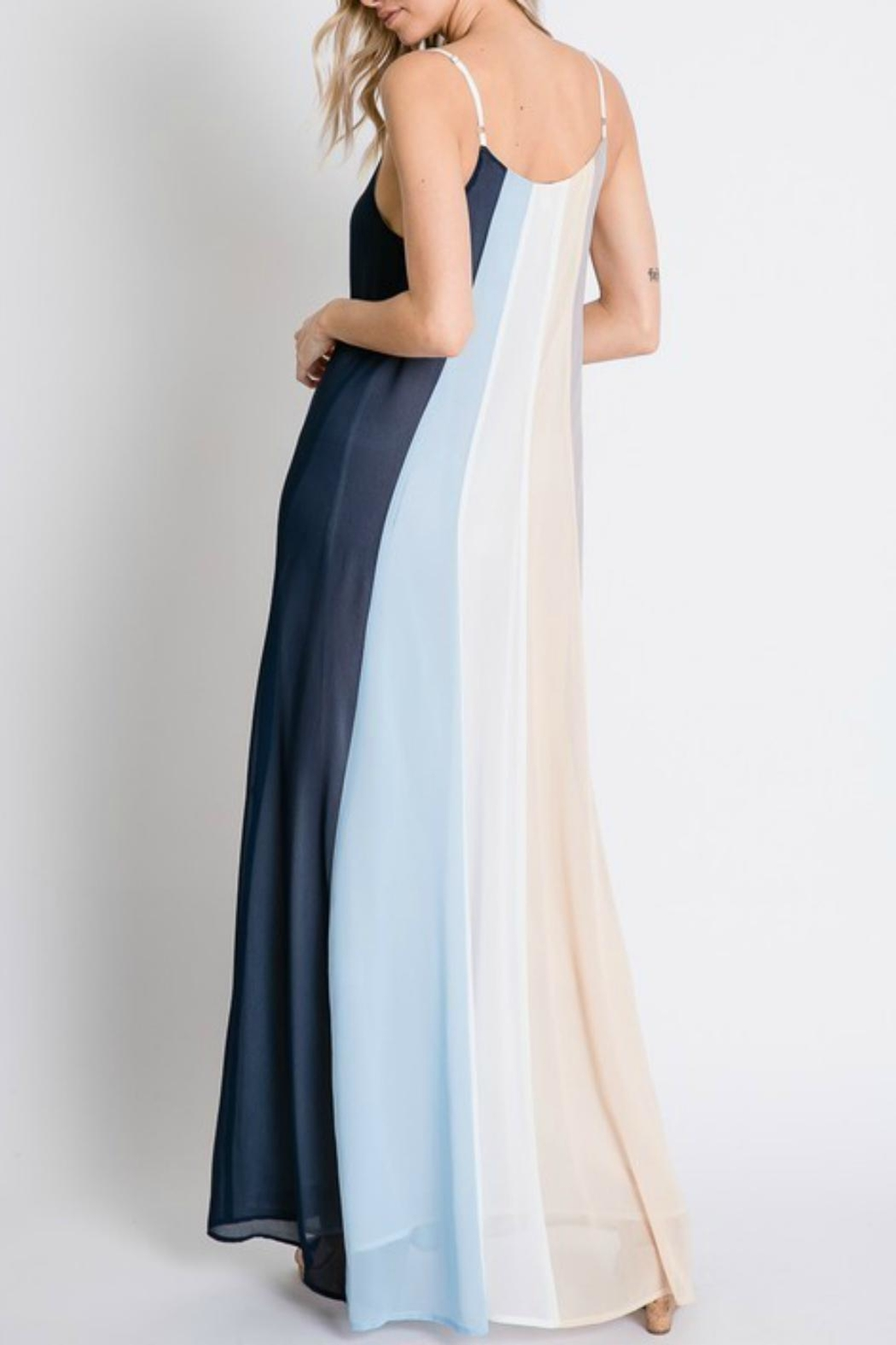 Pretty Little Things Colorblock Maxi Dress - Side Cropped Image