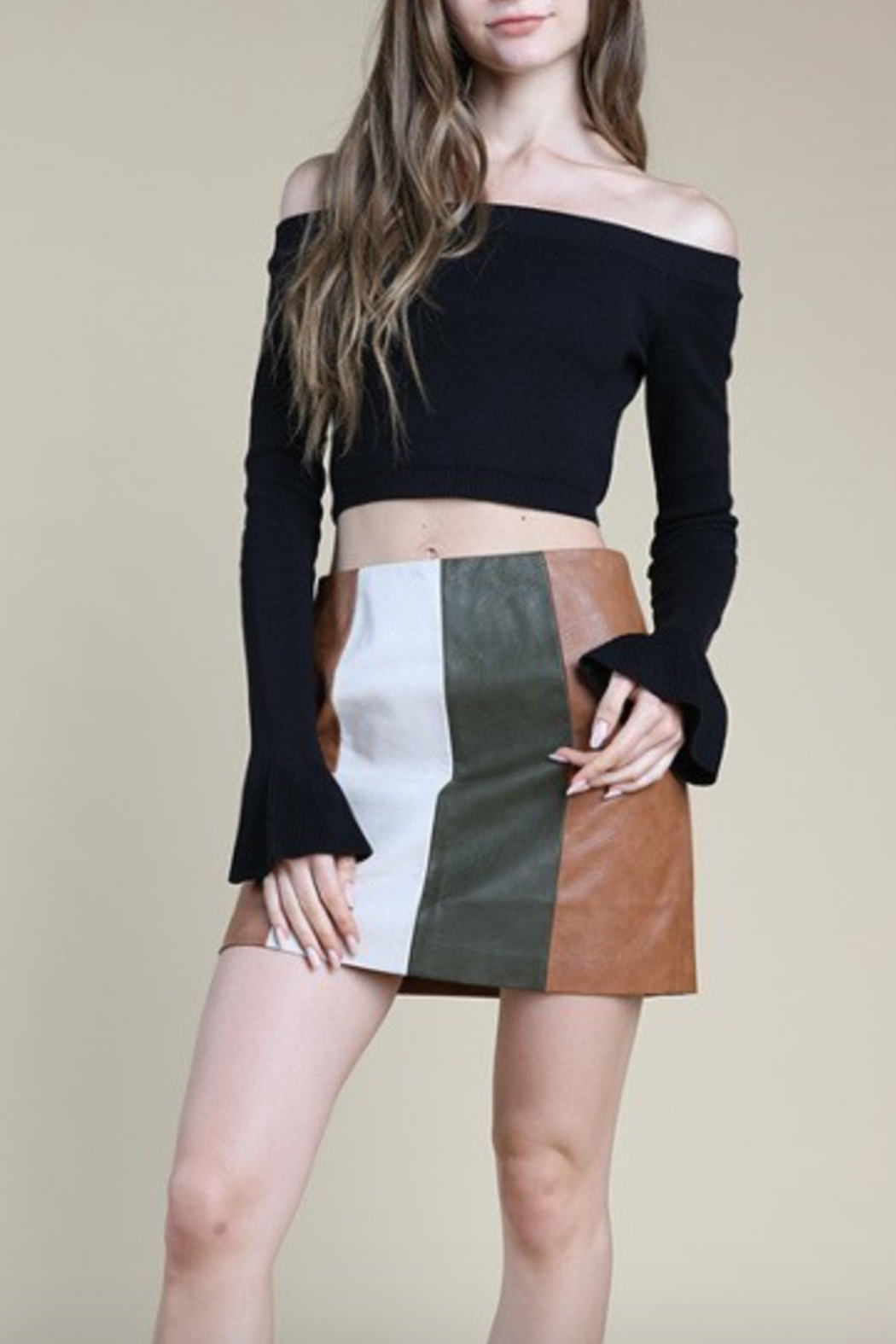 Honey Punch COlorblock Mini Skirt - Front Cropped Image