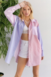 hers and mine Colorblock Oversized Shirt Dress - Product Mini Image
