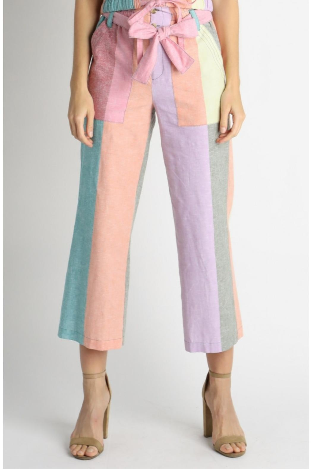 Current Air Colorblock Paperbag Pants - Front Cropped Image
