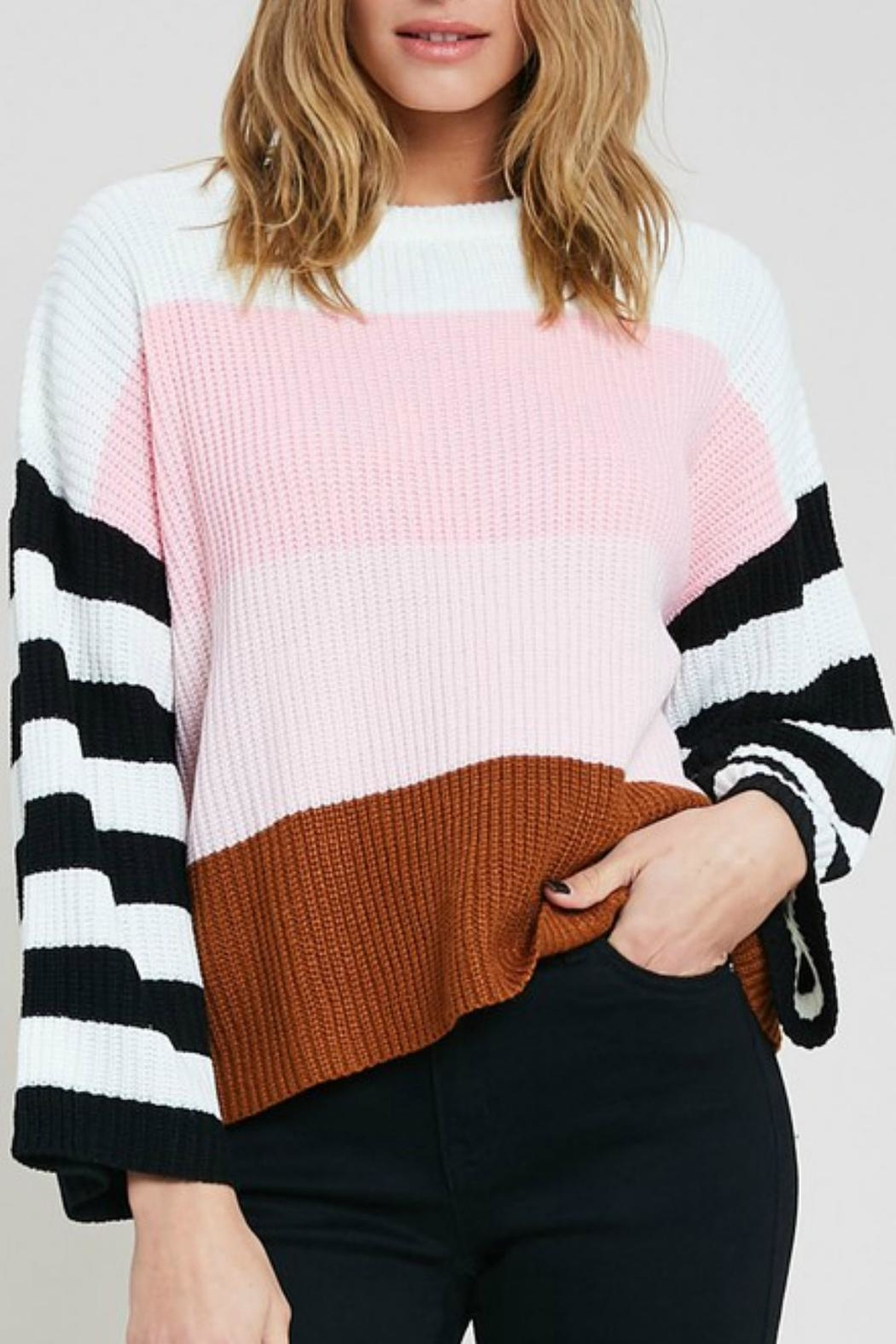 Pretty Little Things Colorblock Pullover Sweater - Main Image