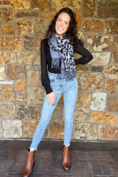 Camille and Co Colorblock Solid & Leopard Scarf - Alternate List Image