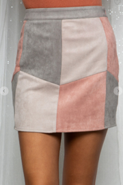 BaeVely Colorblock Suede Skirt - Front cropped