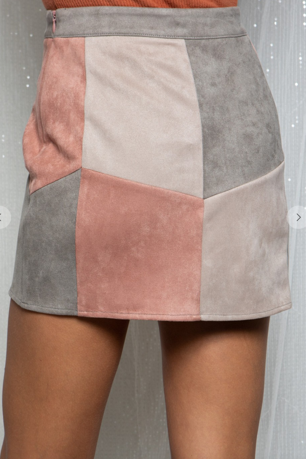 BaeVely Colorblock Suede Skirt - Front Full Image