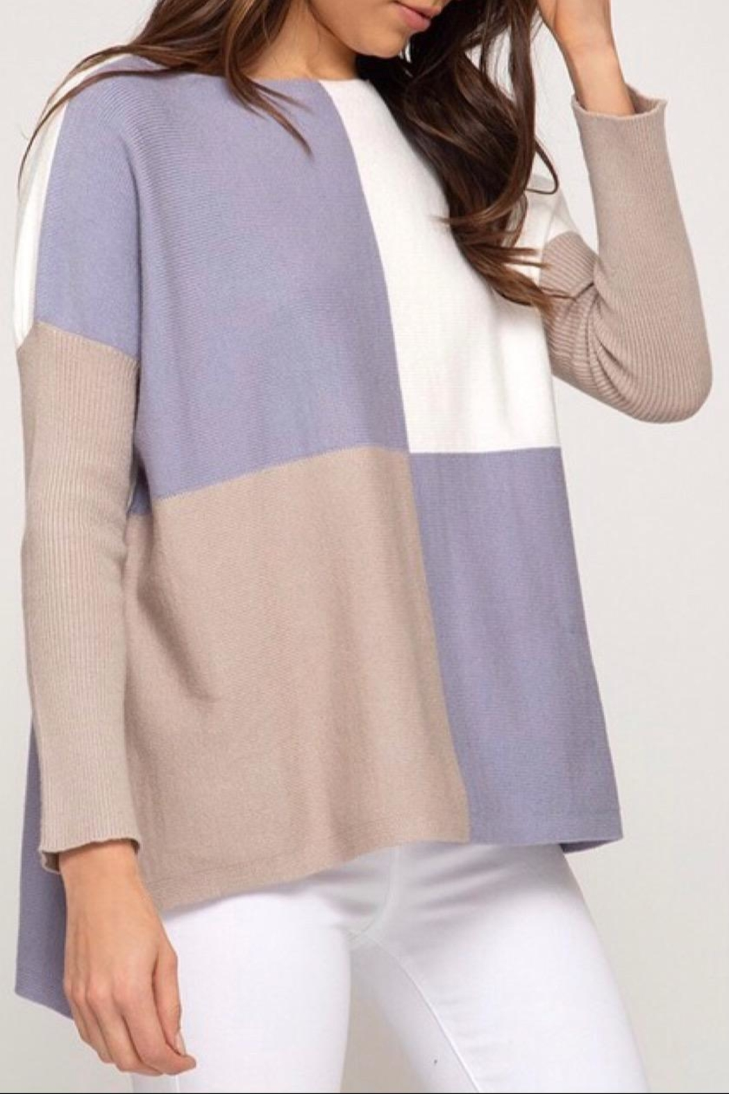 LuLu's Boutique Colorblock Sweater - Front Full Image
