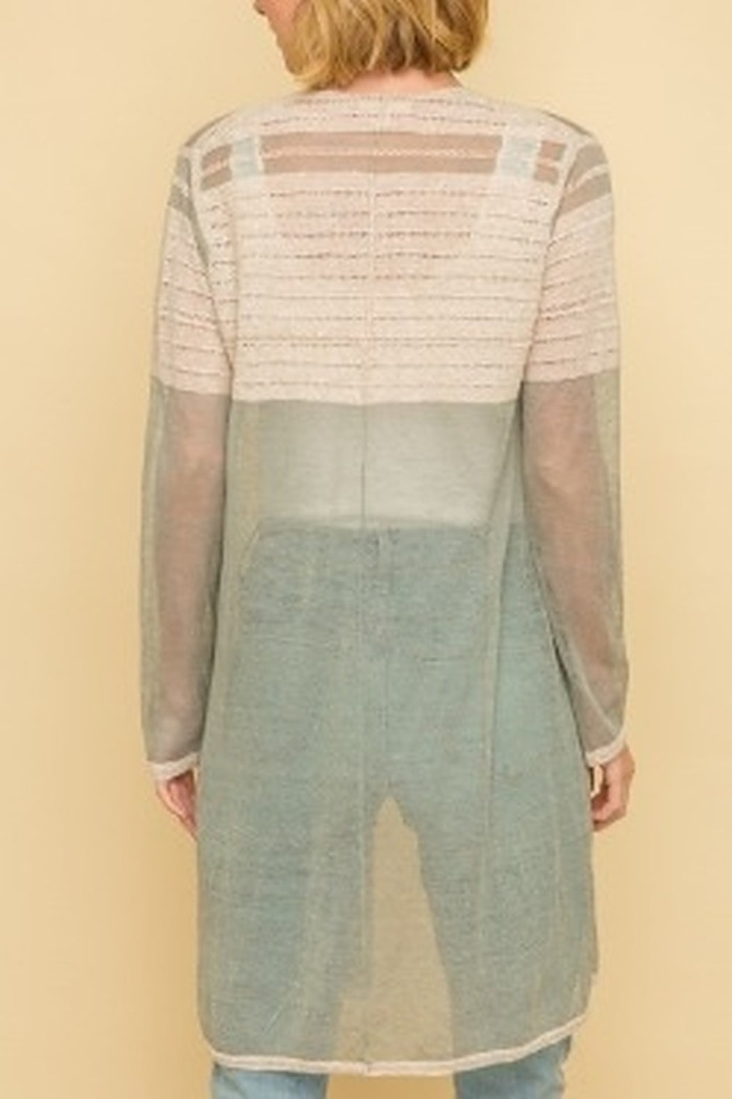 Mystree Colorblock Sweater Cardigan - Side Cropped Image