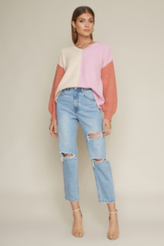 Dee Elly Colorblock V-Neck Sweater - Product Mini Image