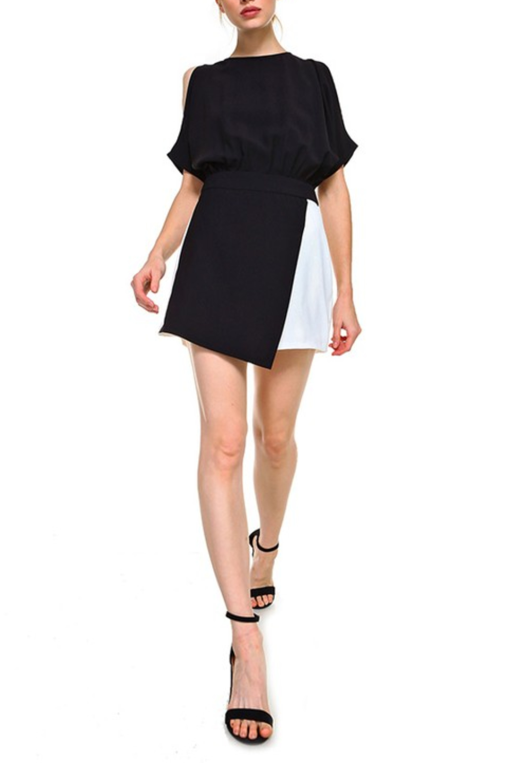 TCEC Colorblock Wrap Romper - Back Cropped Image
