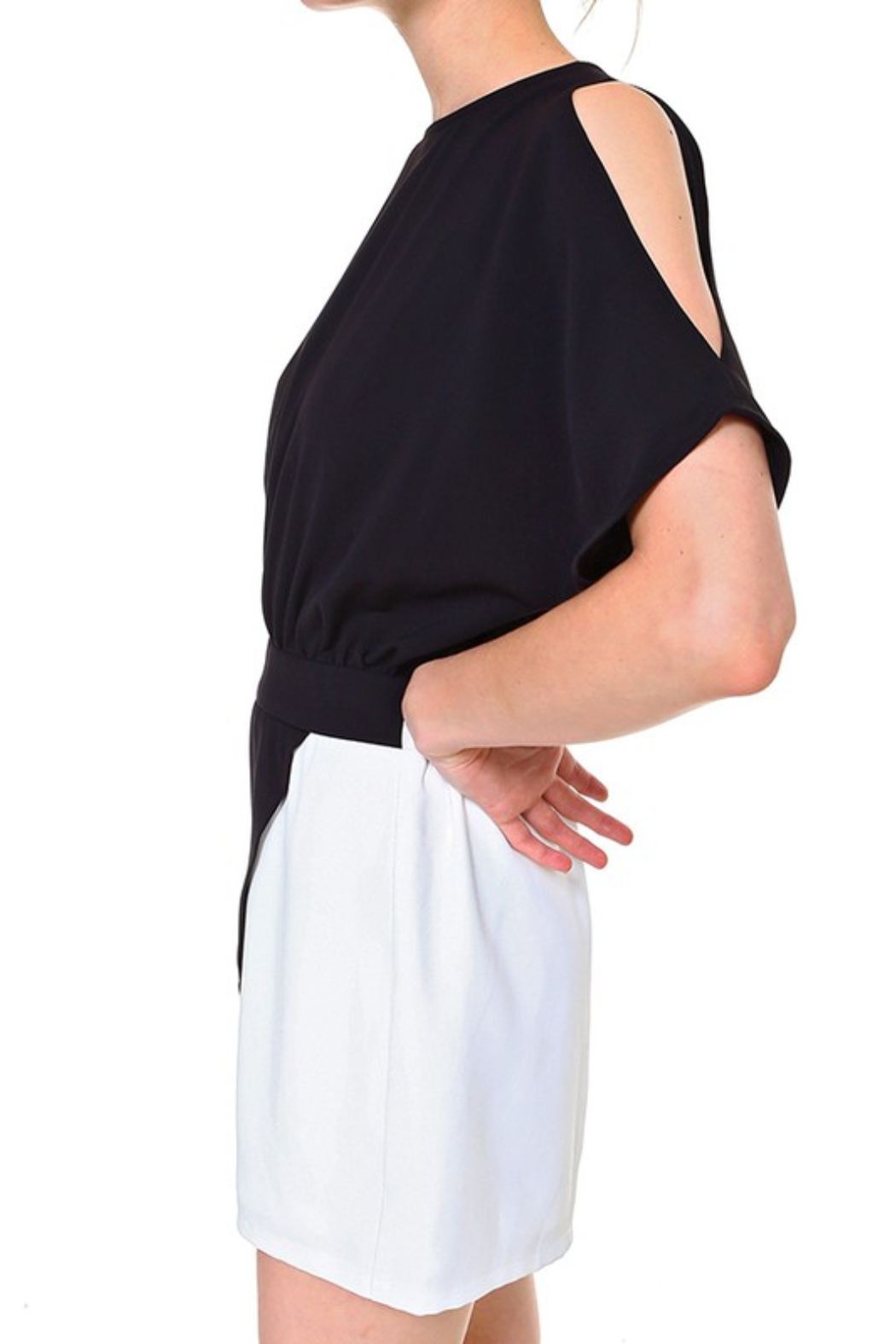 TCEC Colorblock Wrap Romper - Side Cropped Image