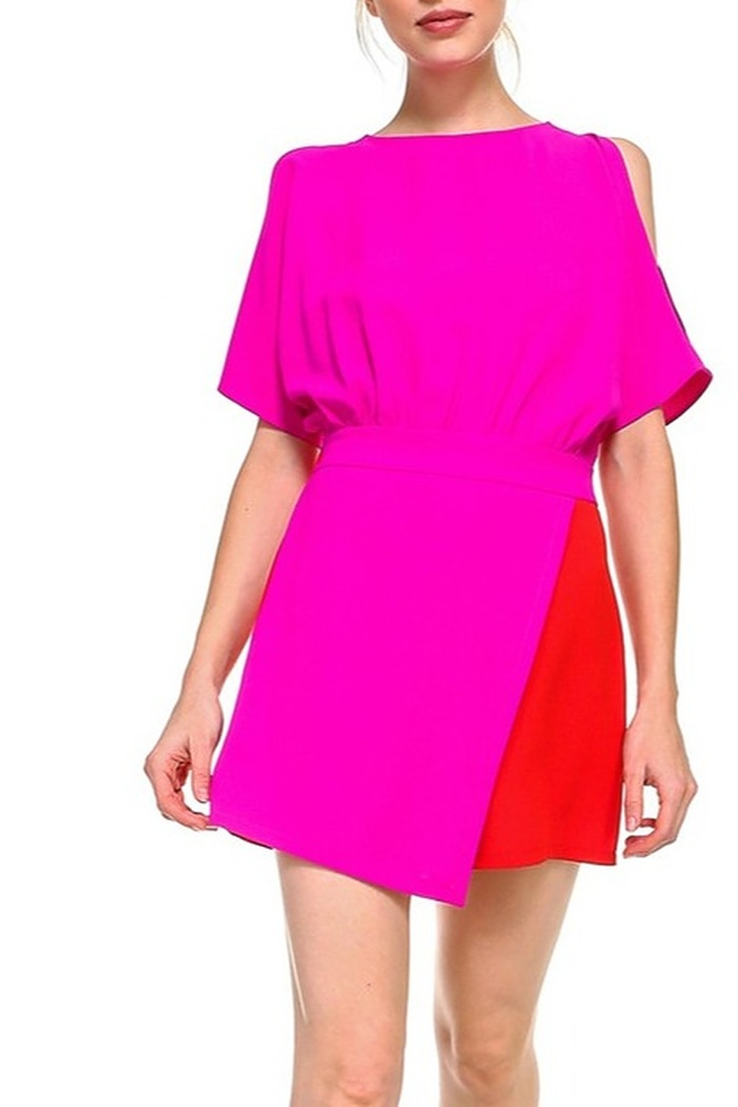 TCEC Colorblock Wrap Romper - Front Cropped Image
