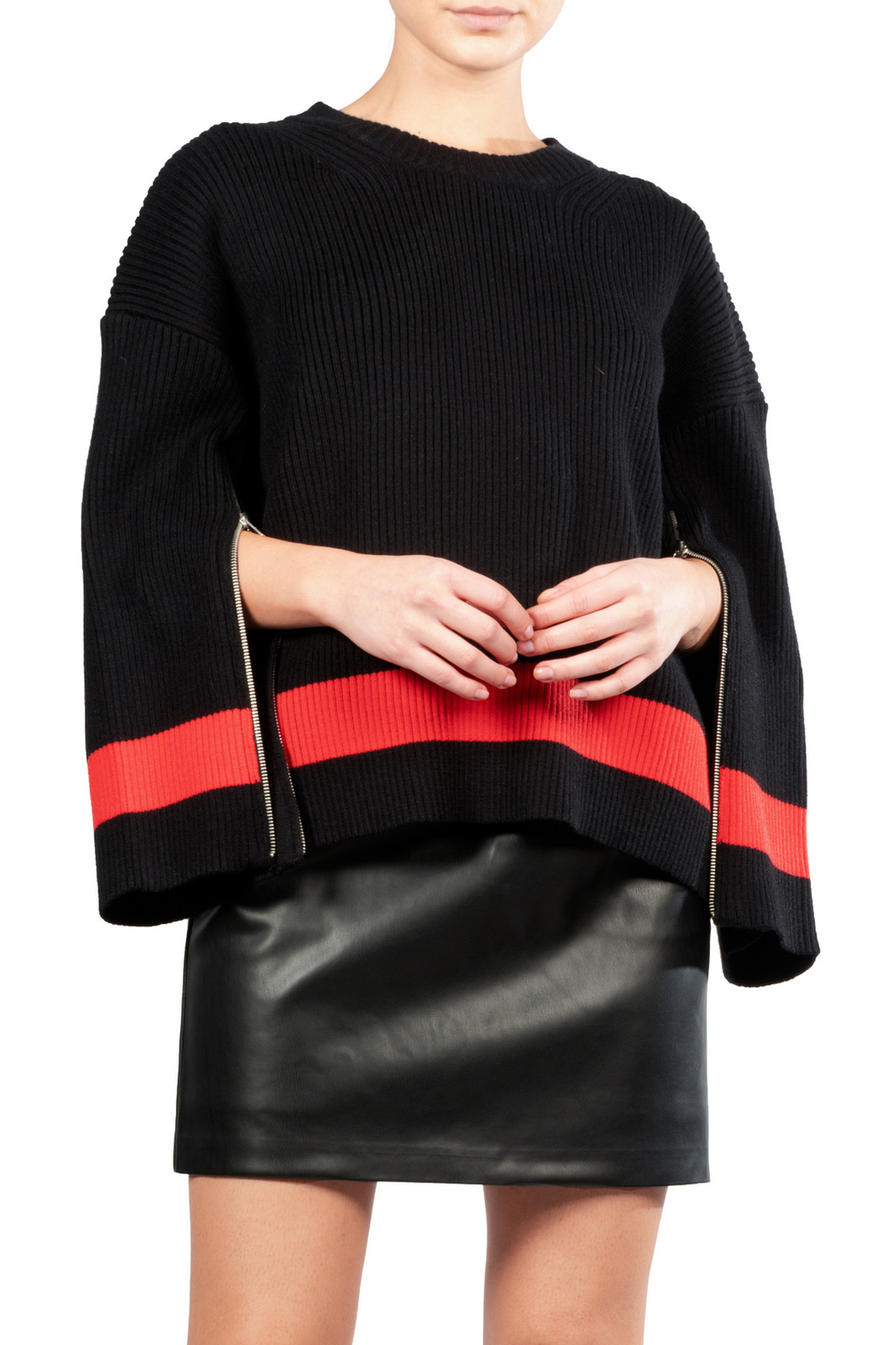 Elan Colorblock Zipper Sweater - Front Cropped Image