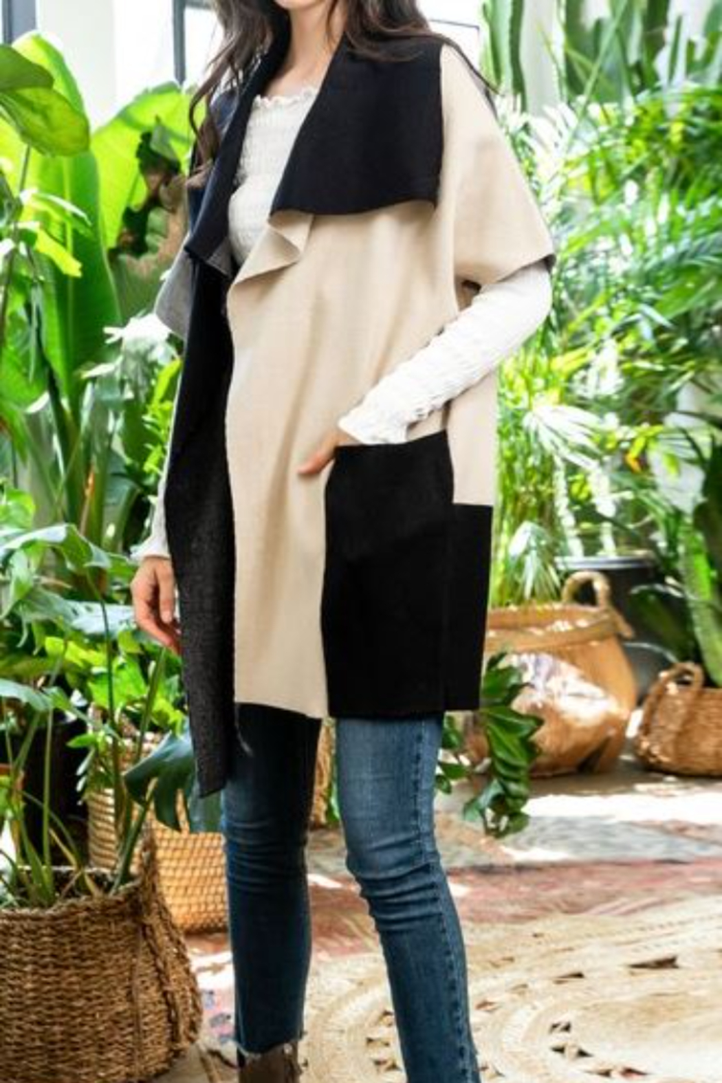 Thml Colorblocked Sleeveless Cardigan - Front Full Image