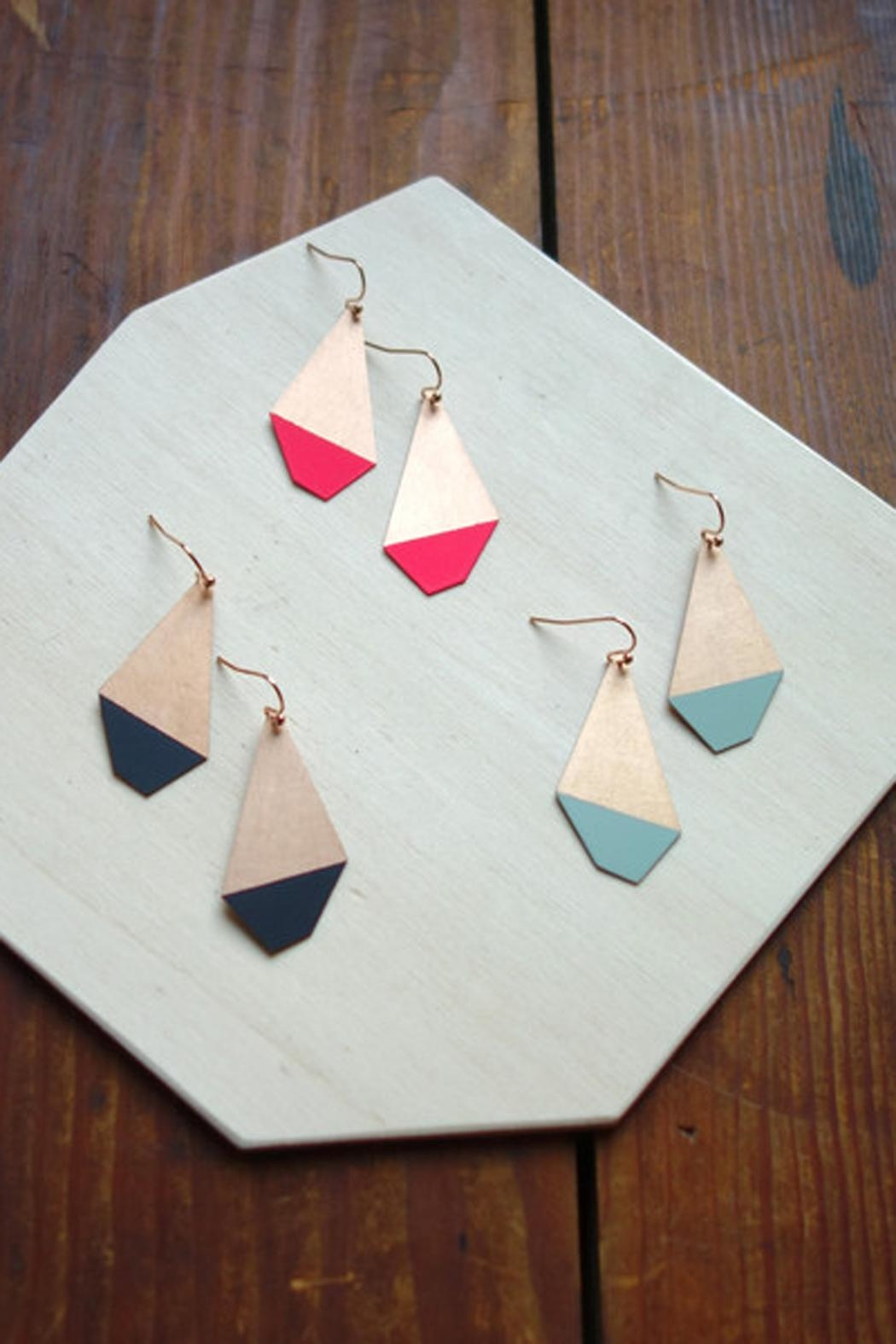 Ruby on Tuesday Colored Polygon Earrings - Front Full Image