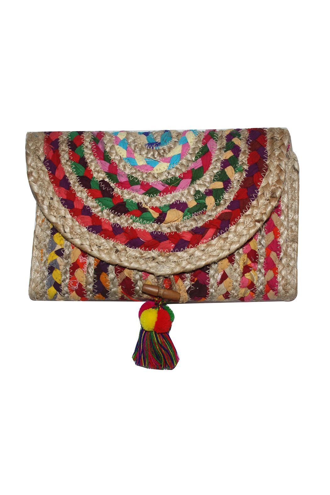 America & Beyond Colorful Braided Clutch - Main Image