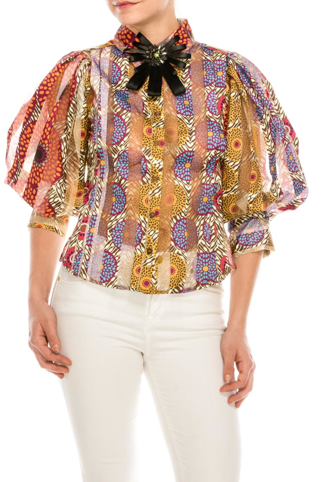 30dcebb79cacb cq by cq Colorful Brooch Blouse from New York by Dor L Dor — Shoptiques