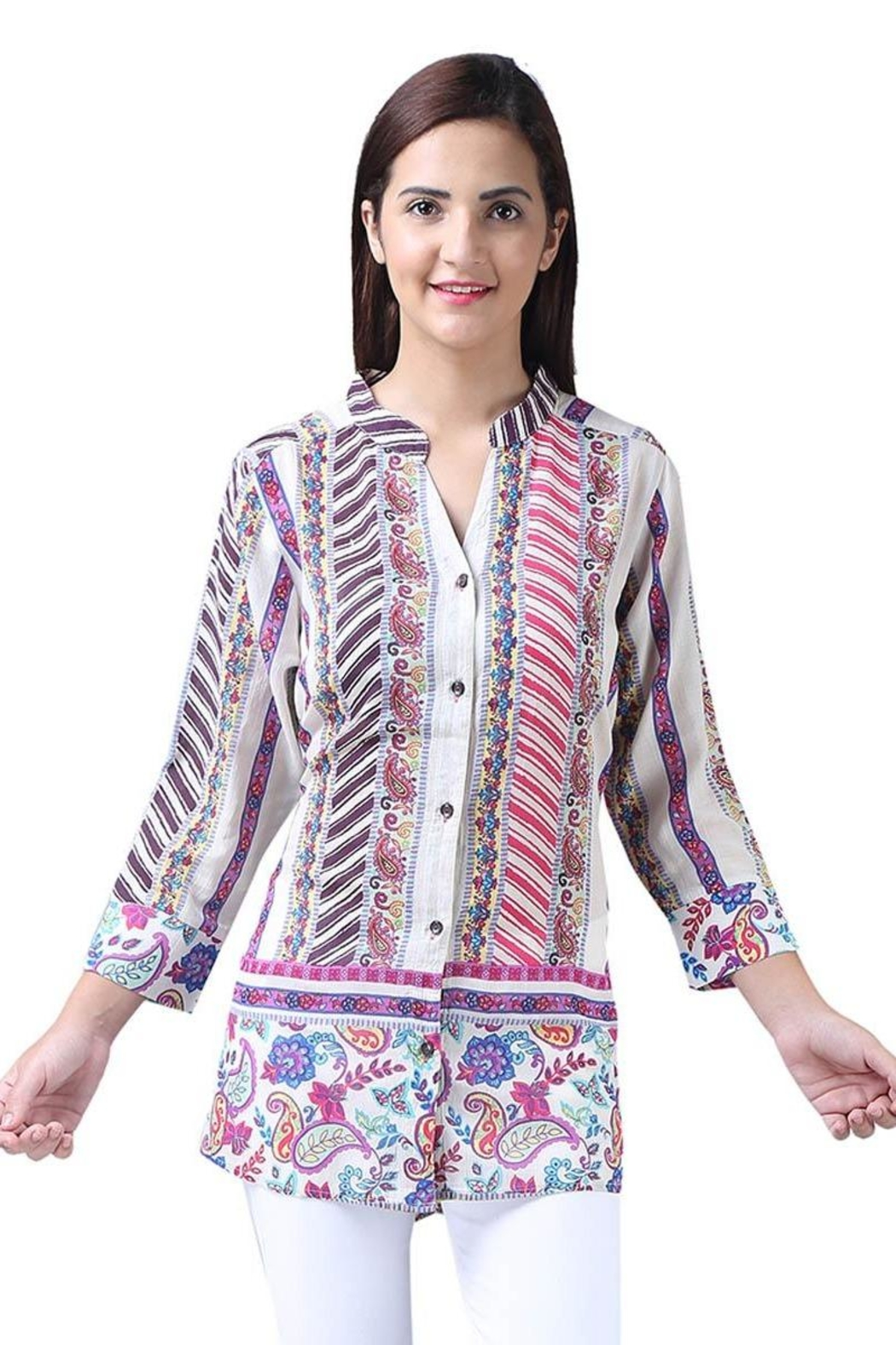 c4605975603 Parsley & Sage Colorful Button-Up Tunic from Cambria by New Moon ...