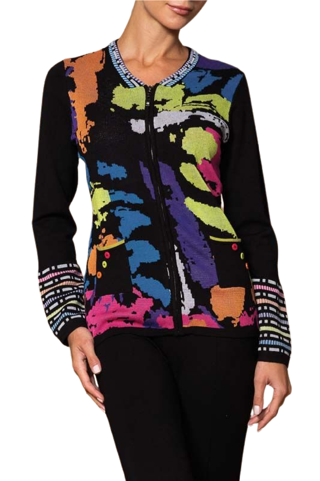 Elena Wang  Colorful Cardigan - Front Cropped Image