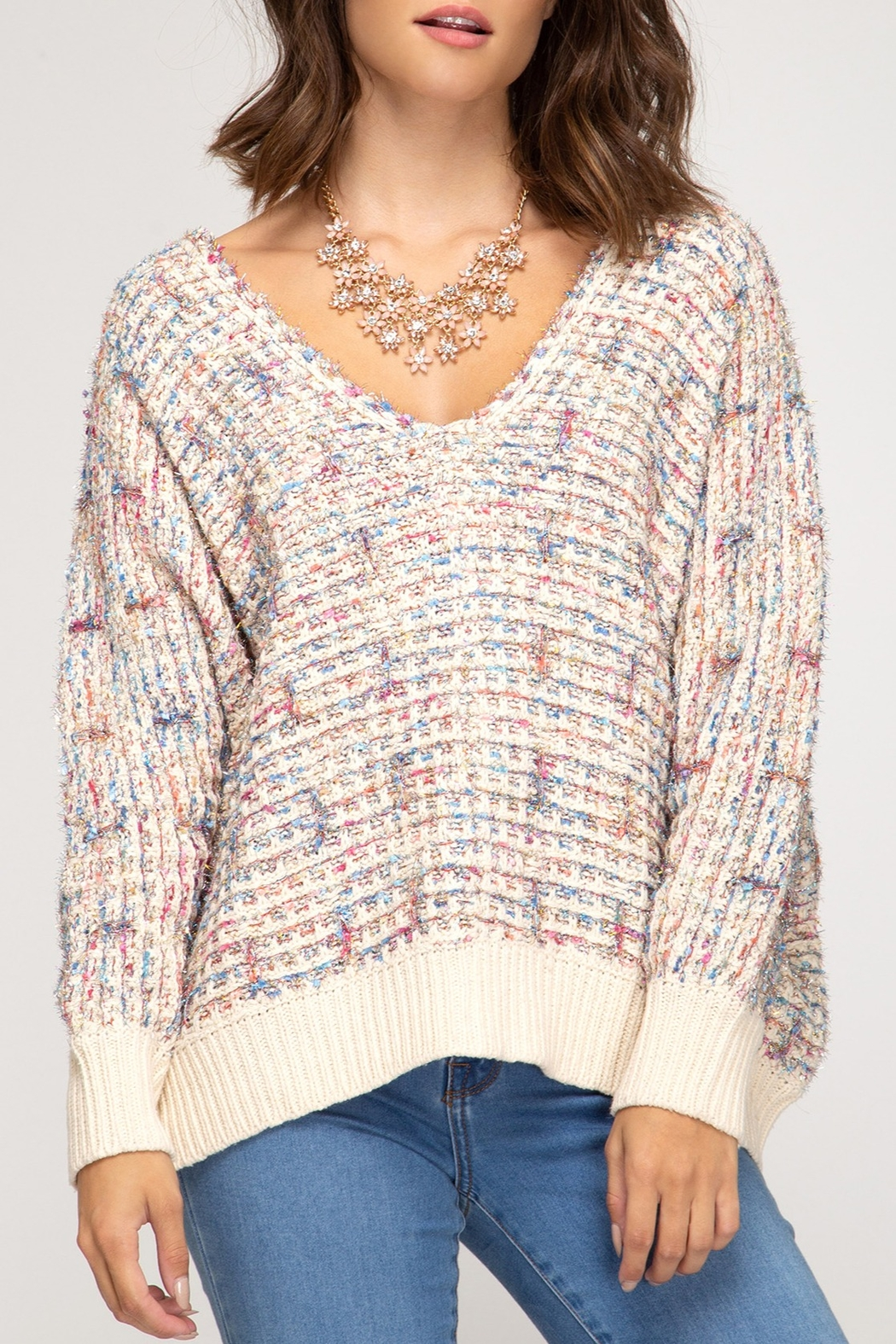 She + Sky Colorful & Cute Sweater - Front Cropped Image