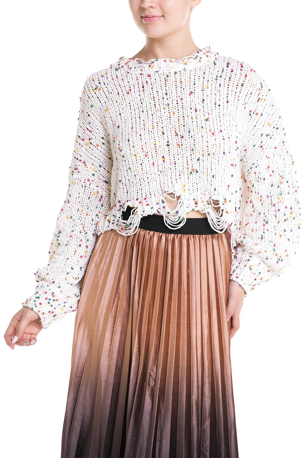 Wild Honey Colorful Distressed Sweater - Main Image