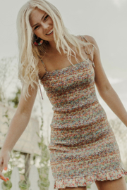 Seventy Five Degrees and Fuzzy Colorful Floral Mini Dress - Product Mini Image