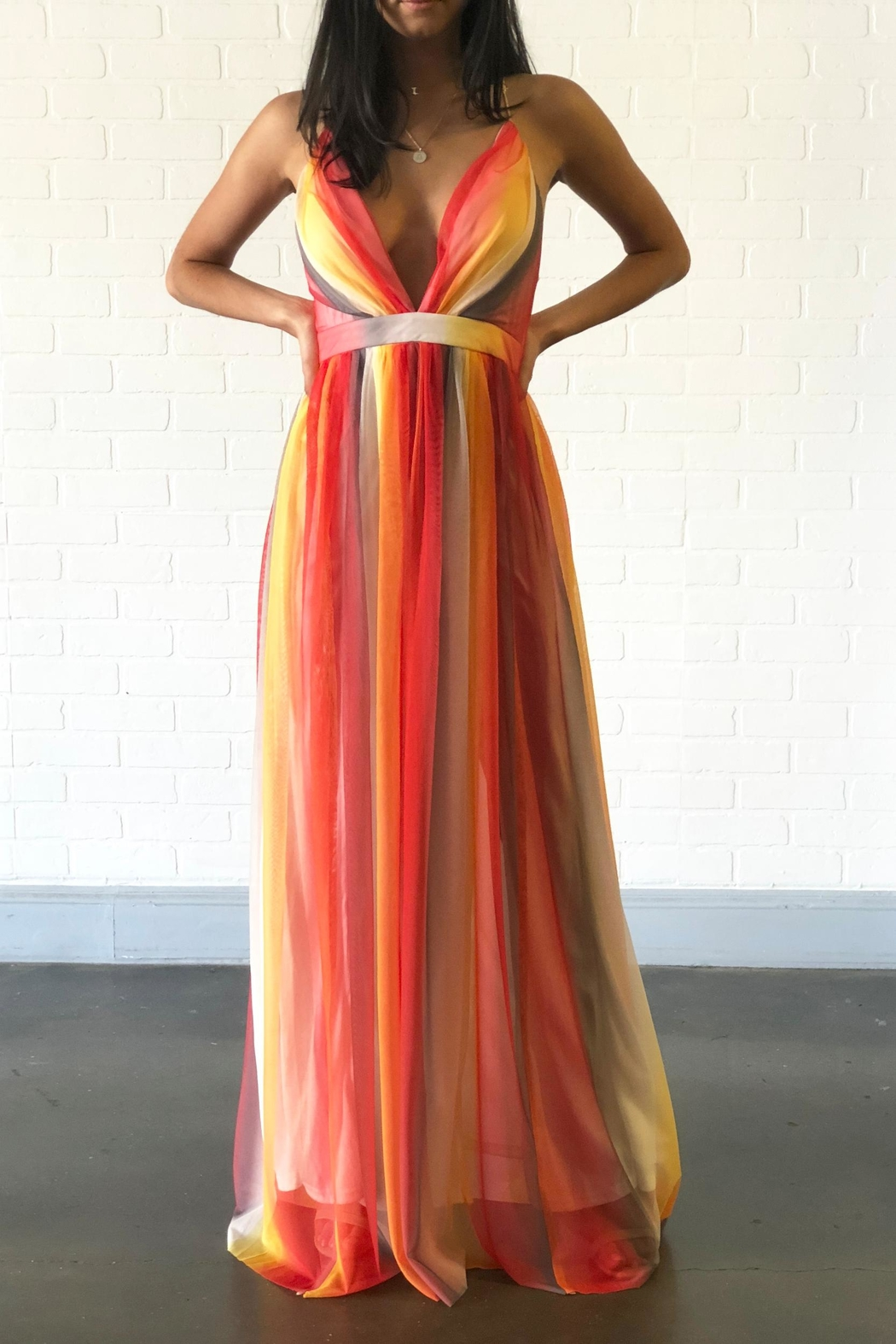 Xtaren Colorful Maxi Dress - Side Cropped Image
