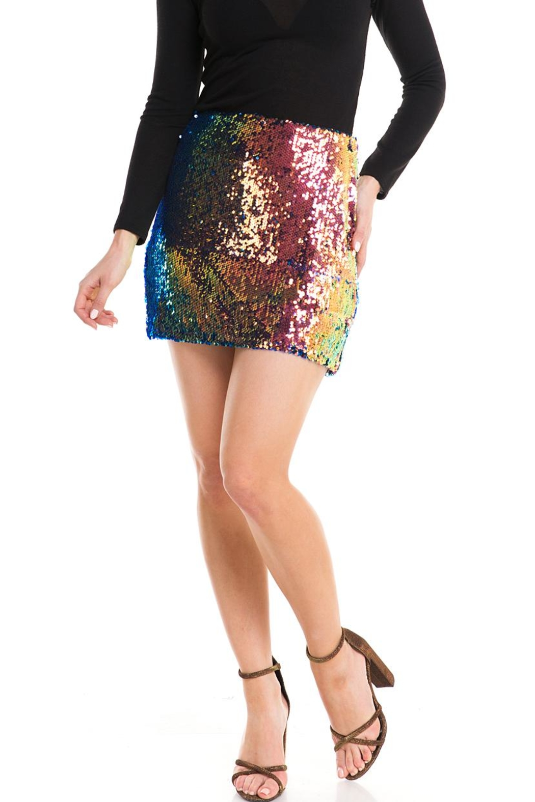 Lush Colorful Sequin Skirt - Main Image