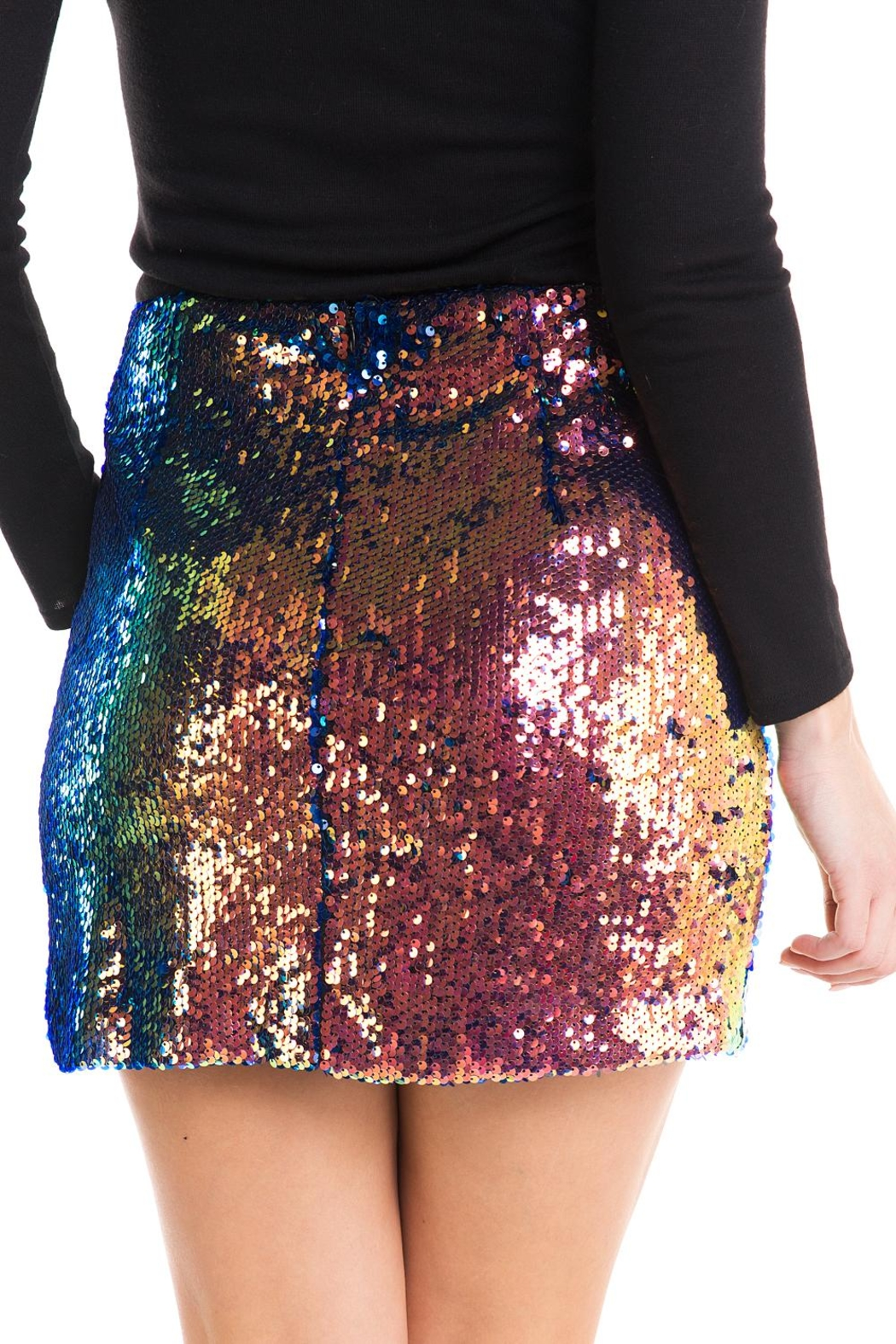Lush Colorful Sequin Skirt - Side Cropped Image