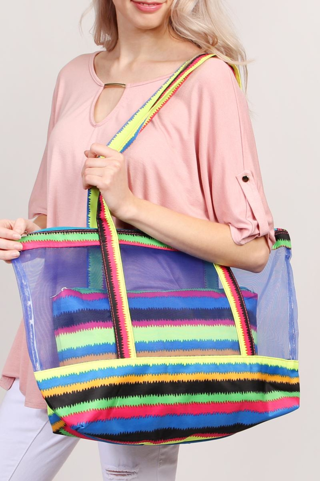 Riah Fashion Colorful-Shoulder-Bag And Pouch-Set - Side Cropped Image
